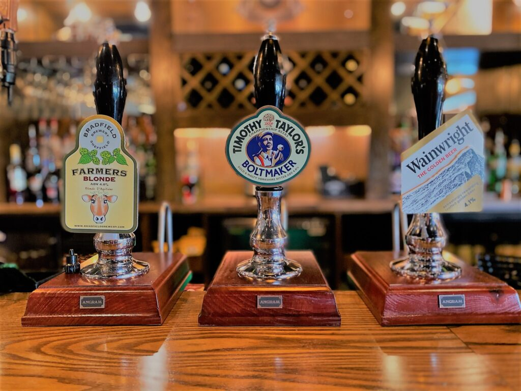 Birley Arms Hotel Warton pub bar beer taps farmers blonde timothy taylor's bolt maker wainwright the golden beer