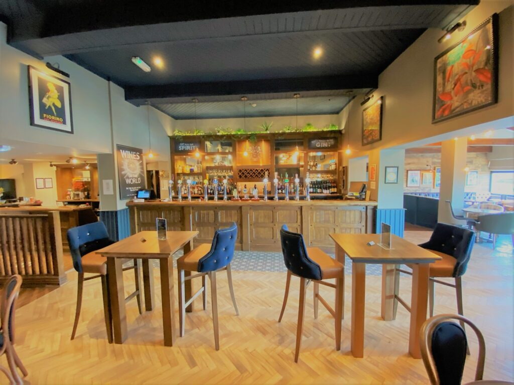 Birley Arms Hotel Warton main pub bar with seating for drinking and casual dining