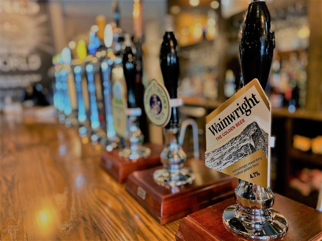Birley Arms Hotel Warton pub bar beer taps Wainwright Golden Beer