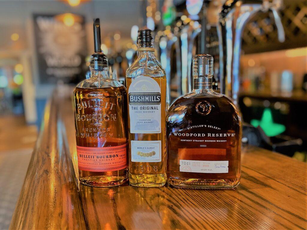 Birley Arms Hotel Warton pub bar whisky bourbon bulleit bourbon bushmills the original irsh whiskey woodford reserve