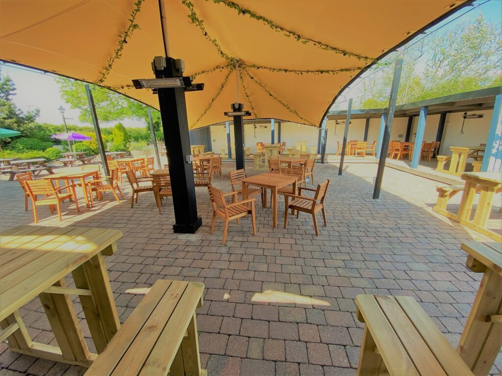 Birley Arms Hotel Warton pub beer garden covered outside seating area